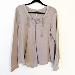 We The Free Rope Lace Up Long Sleeve Swing Top
